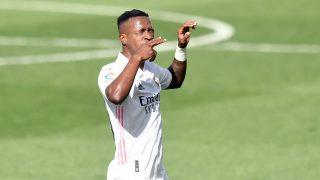 Vinicius celebra su gol ante el Levante. (AFP)