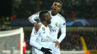 Vinicius y Rodrygo celebran un gol con el Real Madrid. (Getty)