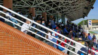El Estadio de Navalcarbón (Las Rozas) contó con la presencia de aficionados en el partido contra el Castilla.