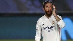 Sergio Ramos, en un partido con el Real Madrid. (Getty)