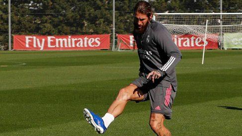 Sergio Ramos, durante un entrenamiento. (Realmadrid.com)