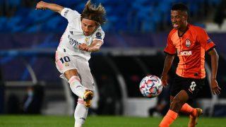 Luka Modric durante el partido ante el Shakhtar Donetsk. (AFP)