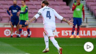 Ramos celebra el gol en el Clásico. (AFP)