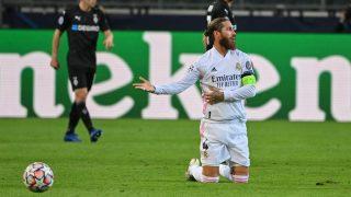 Sergio Ramos, durante un partido. (AFP)