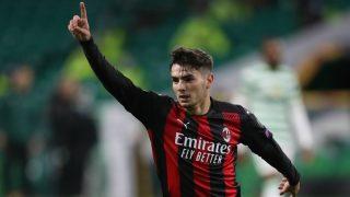 Brahim celebra un gol con el Milán. (AFP)
