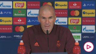 Zidane, durante la rueda de prensa previa al partido con el Inter de Milán.