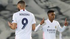 Benzema y Rorygo durante un partido. (EFE)