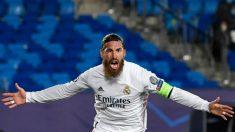 Sergio Ramos celebra un gol en el Real Madrid.Inter. (AFP)
