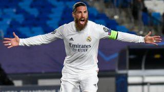 Sergio Ramos celebra su go 100 con el Real Madrid. (AFP)