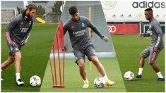 Ramos, Asensio y Vinicius, entrenando individualmente.