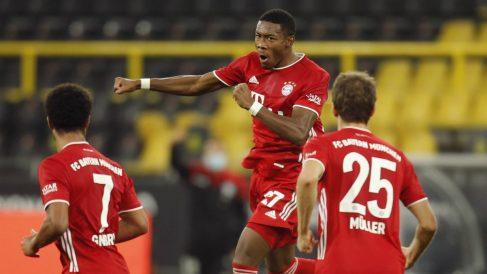 David Alaba celebra su gol ante el Borussia Dortmund. (AFP)
