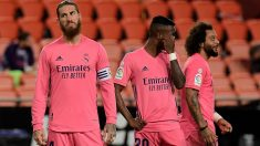 Sergio Ramos, durante un partido del Real Madrid. (AFP)