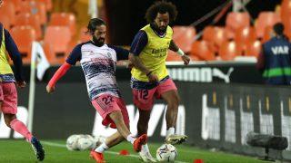 Isco y Marcelo, antes del partido contra el Valencia. (Getty)