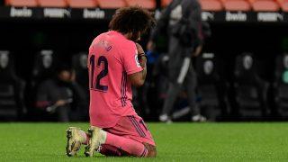 Marcelo, en el partido ante el Valencia (AFP).