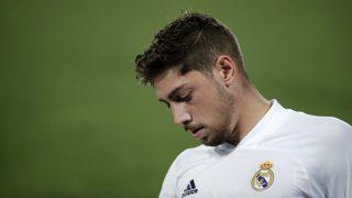 Fede Valverde, en un partido con el Real Madrid. (Getty)