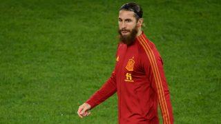 Sergio Ramos, en el partido contra Suiza. (AFP)