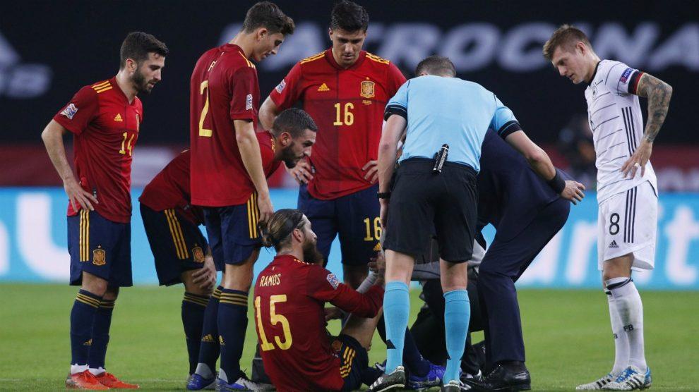 Sergio Ramos se lesionó contra Alemania. (Getty)