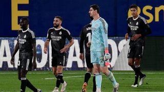 Los jugadores del Real Madrid, en el partido ante el Villarreal (AFP).