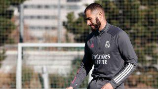 Karim Benzema, entrenándose en Valdebebas.