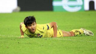 Takefusa Kubo, en un partido con el Villarreal. (Getty)