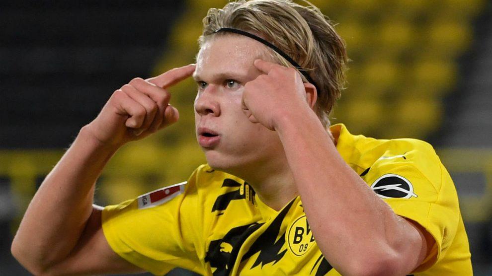 Haaland celebra un gol con el Borussia Dortmund. (AFP)