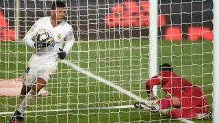 Casemiro, tras marcar en el Real Madrid – Alavés. (Getty)