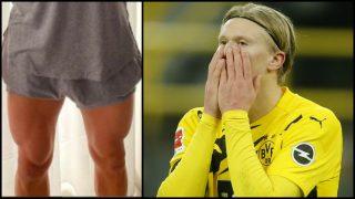 Las musculadas piernas de Haaland se han vuelto virales en Instagram.