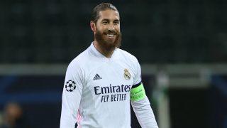 Sergio Ramos, en un partido de Champions con el Real Madrid. (Getty)