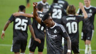 Vinicius celebra su gol al Sevilla. (AFP)