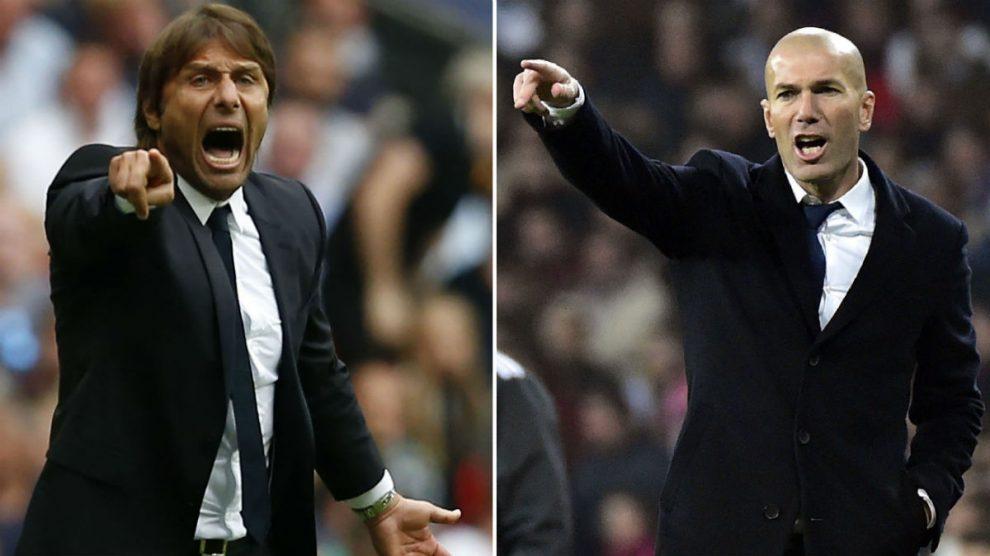Antonio Conte y Zinedine Zidane. (AFP)