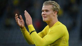 Haaland durante un partido con el Borussia Dortmund. (AFP)