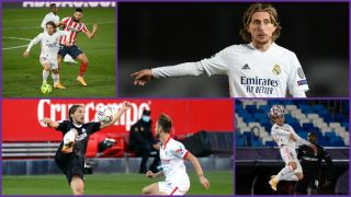 Luka Modric, en su mejor estado de la temporada. (AFP y Getty)