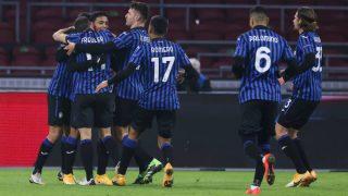 Los jugadores del Atalanta celebran un gol en la Champions. (AFP)