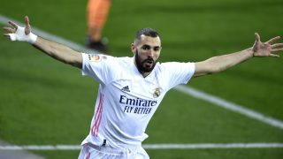 Karim Benzema celebra su gol contra el Eibar (Getty).