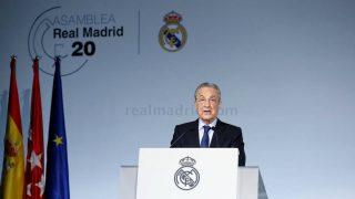 Florentino Pérez, durante la Asamblea. (Realmadrid.com)