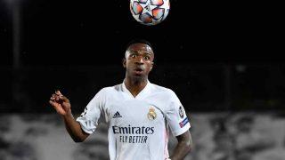 Vinícius con el Real Madrid. (AFP)