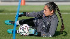 Sara Ezquerro, en un entrenamiento del Real Madrid Femenino. (@realmadridfem)