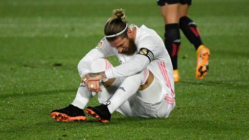 Sergio Ramos, en un partido con el Real Madrid. (AFP)