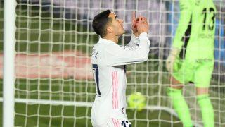 Lucas Vázquez celebra su gol contra el Celta (AFP).