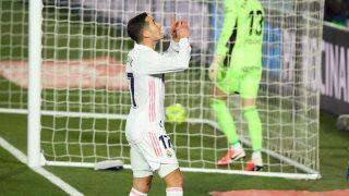 Lucas Vázquez celebra su gol. (AFP)