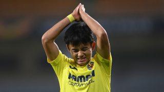 Take Kubo, durante un partido del Villarreal (AFP).
