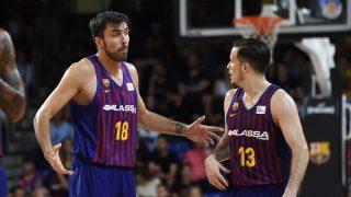 Oriola y Heurtel, en un partido del Barça. (ACB)