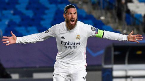 Sergio Ramos, tras marcar un gol en Champions (AFP)