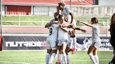 Las jugadoras del Madrid Club de Fútbol Femenino celebran un tanto. (@MadridCFF)