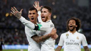 Sergio Ramos celebra un gol con Ceballos. (Getty)