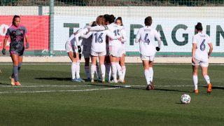 El Real Madrid celebra un gol Madrid CCF. (EFE)