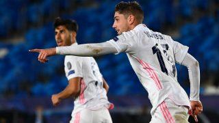 Valverde, tras marcar un gol en Champions League (AFP)