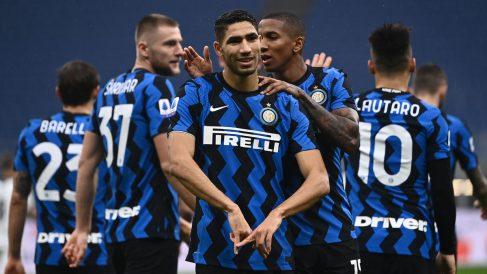 Achraf, tras marcar un gol con el Inter de Milán (AFP)