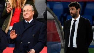 Florentino Pérez y Andrea Agnelli. (AFP)