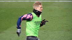 Martin Odegaard, en un entrenamiento con el Real Madrid. (AFP)